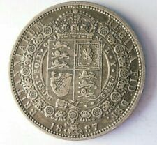 1887 GREAT BRITAIN 1/2 CROWN - AU - High Quality Silver Coin - Lot #A6