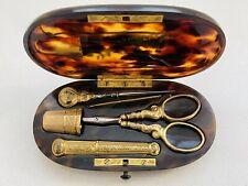 More details for antique 1912 faux tortoiseshell gilt & metal needlework sewing kit set case box