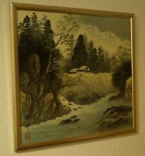 Landschaft Japanisches Gemälde im Rahmen Bild Malerei Kunst Japan 4306