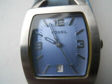 Fossil women's blue face leather band,quartz,battery & water resist Analog watch