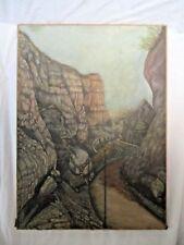 """Ancien  tableau huile sur toile abstrait - étrange - falaise /paysage """""""
