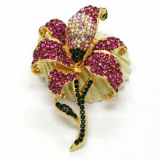 Crystal Betsey Johnson Charm Brooch Pin Hot Rose Rhinestone Cute Bling Flower