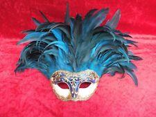 schöne, alte Maske__Venedig Colombine__hochwertig gearbeitet__echte,blaue Federn