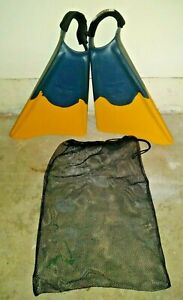 Churchill Makapuu Fins Men's Size XL (13+ Shoe) Blue & Yellow Free Ankle Padding