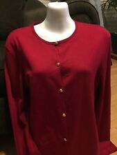 Woman's Red Lauren Ralph Lauren Gold Button Up Red Sweater size Medium Large