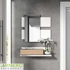 Mobile ingresso Amy moderno bianco opaco sospeso con mensola cassetto specchiera