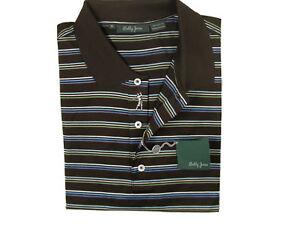 NEW! Bobby Jones Fine Cotton Golf (Polo) Shirt!  M  Dark Brown Striped