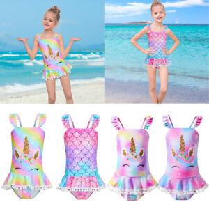 Kids Swimming Costume One Piece Unicorn Fish Scale Beach Swimwear Swimsuit UK