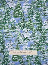 Christmas Fabric - Snow Covered Trees Glitter Blue - Timeless Treasures YARD