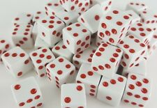 "WHOLESALE LOT 200 WHITE DICE RED PIPS 6 SIDED BULK D6 DIE GAME SIX 5/8"" 16mm"