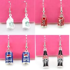 Fashion Jewelry Lovely Enamel Beverage can Coffee cup Silver Hook Dangle Earring