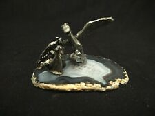 "Fanatsy Pewter Pegasus & Wizard On Brown & White Slice Of Rock 3"" X 2.75"" X 2.75"