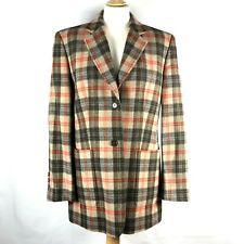 JOBIS 100% New Wool Vintage Checked Blazer Jacket Winter Wool Coat Sz UK12 EU40