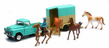G-Scale 1:32 Scale Die Cast 1955 Chevy Pickup & Horse Trailer, 4 Horses & Rider