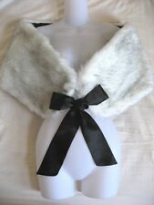 White Black Faux Fur Stole Shawl Cape Wrap Shrug Bridal