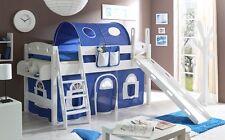 Lit mezzanine avec toboggan KENNY Pin teinté blanc tissus Bleu-Blanc