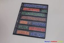 10 Sheet of Stamp Stock Pages (7 Strips) w 9 Binder Holes - Black & Double Sided
