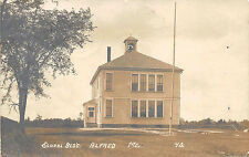 Alfred Me School Building Flagpole Eastern Illustrating Rppc Postcard