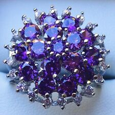 Stunning White Gold Plated Amethyst Cluster& Crystal Ring, New