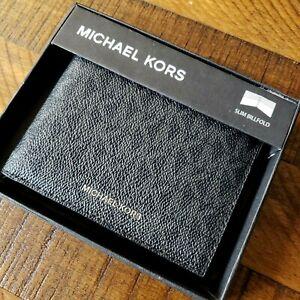 NWT Michael Kors JET SET WALLET Slim Billfold BLACK Cash / Cards COATED PVC Mens