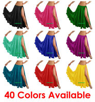 Satin 2 Slit Full Skirt Belly Dance Gypsy Tribal 9 Yard Panel Jupe Flamenco Boho