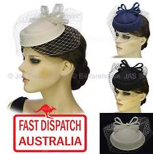 Spring Cocktail Party Race Church Melbourne Cup Pill Box Lace Bow Fascinator Hat