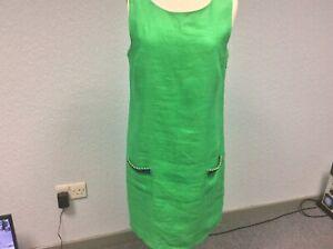Joules Green Linen Dress - Sleeveless - Lined - Beaded Pockets - Size 14