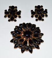 VTG Gold Tone Large Black Glass Rhinestone Flower Brooch Pin Earrings Set