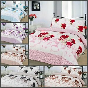 Duvet Cover with Pillowcase Quilt Reversible Bedding Size Single Double King