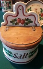 VNTG Rare Bauer Painted Salt Box w/ Wood Cover Hand Painted strawberry