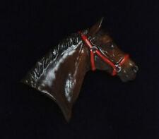 Fine Bone China Horse Brooch - Horse in Head Collar - Bay