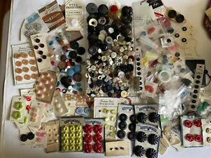 Vintage Varity Mixed Buttons Lot Celluloid ~ Plastic ~ Fabric & More