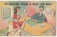 Original 1930s-50s Semi Nude Pinup Linen PC- Comic- Boss- Secretary- Office