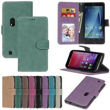 For Asus Series Phones Luxury Wallet ID Card Matte Leather Case Cover TPU DK