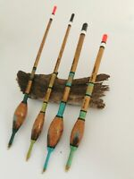 Handmade Scorched Bodied Waggler Floats Vintage Traditional. Set of 4