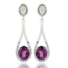 Natural Amethyst Gemstone Ladies Fashion 925 Silver Dangle Earring Jewelry