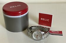 NEW! RELIC KARSEN GOLD DIAL CRYSTALS GLITZ SILVER-TONE WATCH ZR12115 $70 SALE