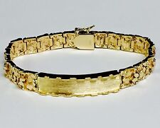 10k Solid Yellow Gold Handmade Men's ID Nugget Bracelet 9 mm 35 grams 8