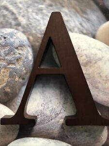 "Pottery Barn Kids Letter ""A"" Wooden Wall Room Name Decor Espresso Brown 8"" NEW"