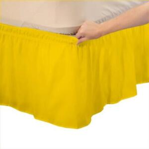 Three Side Elastic Wrap Around Plain Bed Skirt,Ruffled Yellow US Size 1000TC