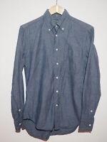 Gitman Vintage Long Sleeve (Denim Blue Colored w/Vertical Chevron Stripes)(S)