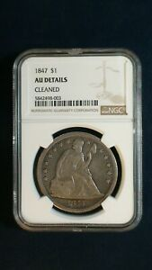 1847 Seated Dollar NGC AU ABOUT UNCIRCULATED Silver $1 Coin PRICED TO SELL FAST!