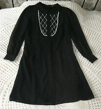 Black tunic  party cocktail dress by SAVOIR  Size 14 Faux pearls & beads NWT