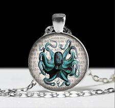 Vintage OCTOPUS  Cabochon Tibetan silver Glass Chain Pendant Necklace #H2