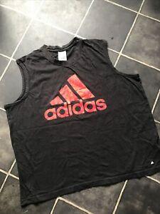 ADIDAS womens ladies vest tank top 2 X/L black gym fitness training