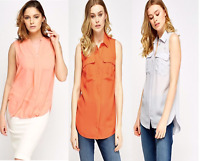 ex Chain Store Women Blouse Chiffon Sleeveless  Ladies T Shirt Casual Loose Tops