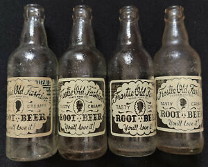 4 Different Vintage 1950s Frostie Root Beer 12 FL. OZS. Clear Glass Bottles
