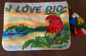 As New -Camila- I Love Rio Macaw Tasel Shells Zip Up Pouch Clutch Wallet
