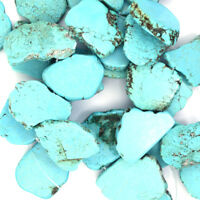 """25-35mm blue turquoise freeform slab beads 8"""" strand top drilled"""