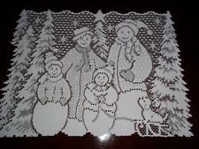 LACE TABLE DOILY WHITE SNOWMAN WINTER 18 X 14 WTDS352